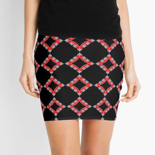 Dancing Silver 4-Point Stars Red Black Face Mini Skirt
