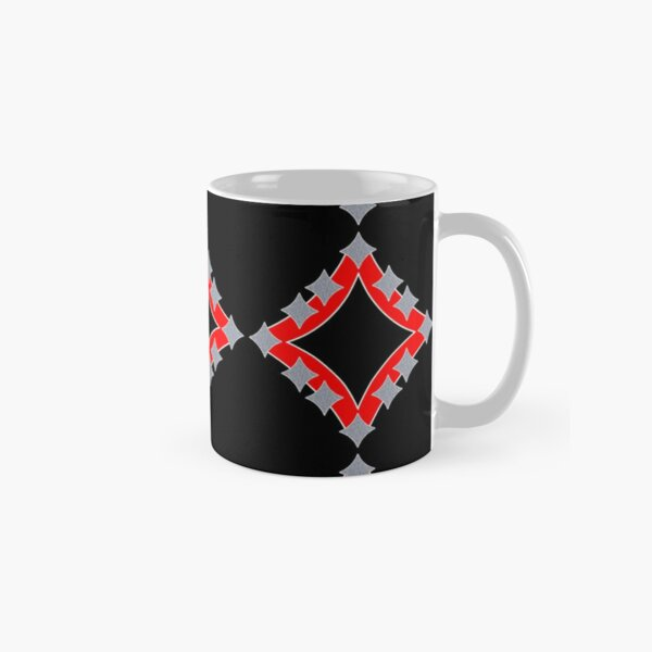 Dancing Silver 4-Point Stars Red Black Face Classic Mug
