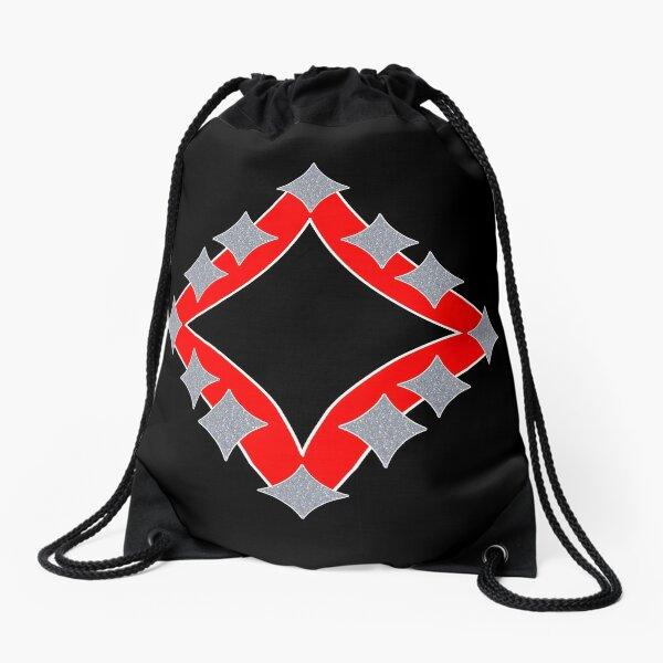 Dancing Silver 4-Point Stars Red Black Face Drawstring Bag
