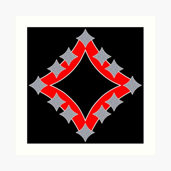 Dancing Silver 4-Point Stars Red Black Face Art Print