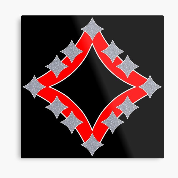 Dancing Silver 4-Point Stars Red Black Face Metal Print