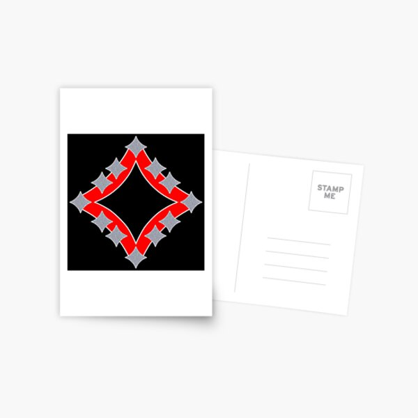 Dancing Silver 4-Point Stars Red Black Face Postcard