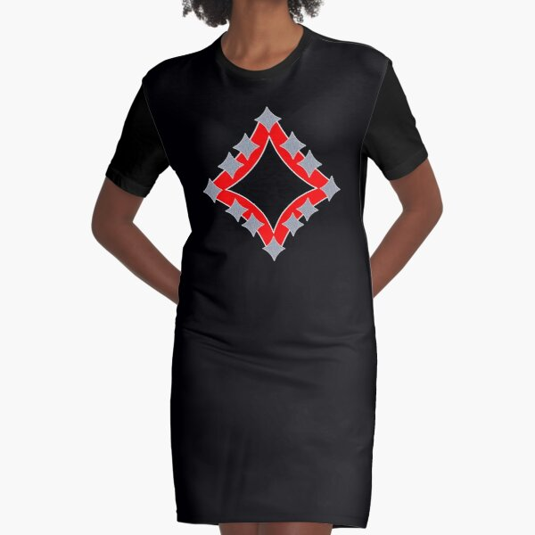 Dancing Silver 4-Point Stars Red Black Face Graphic T-Shirt Dress