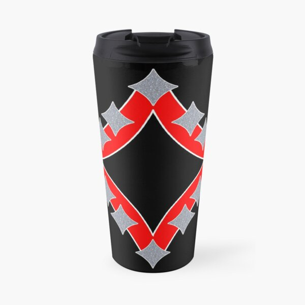 Dancing Silver 4-Point Stars Red Black Face Travel Mug