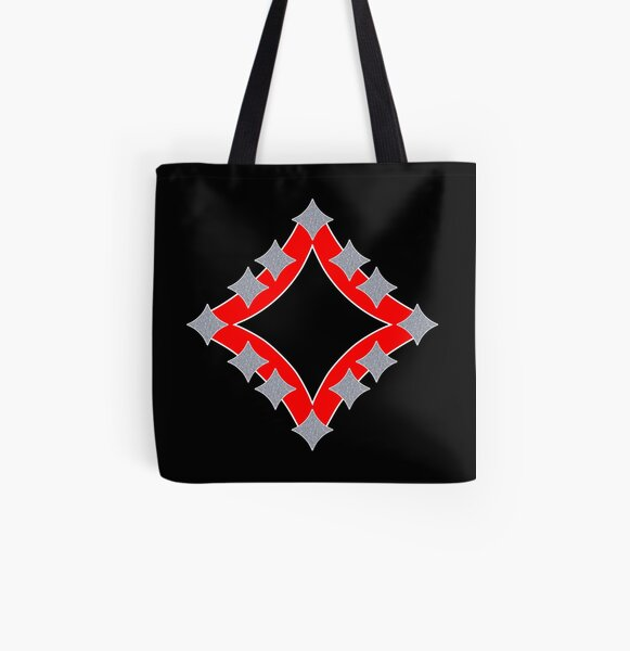 Dancing Silver 4-Point Stars Red Black Face All Over Print Tote Bag