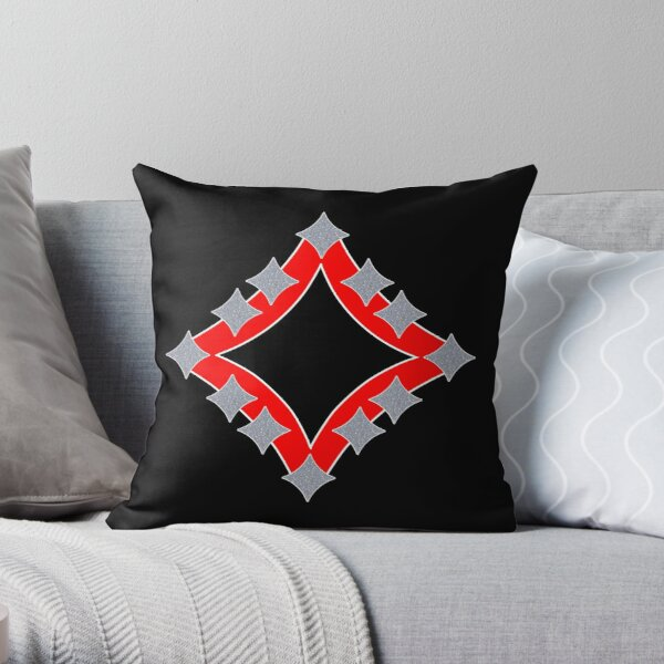 Dancing Silver 4-Point Stars Red Black Face Throw Pillow