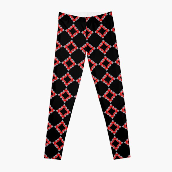 Dancing Silver 4-Point Stars Red Black Face Leggings