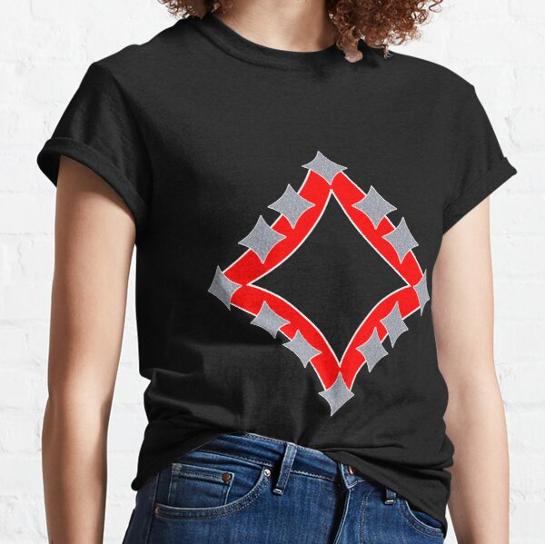 Dancing Silver 4-Point Stars Red Black Face Classic T-Shirt