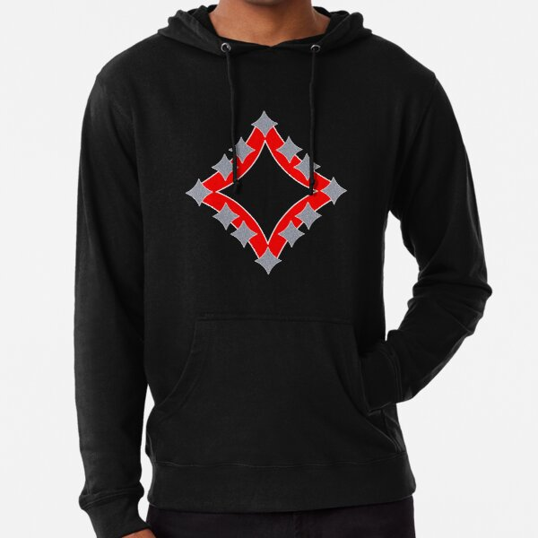 Dancing Silver 4-Point Stars Red Black Face Lightweight Hoodie