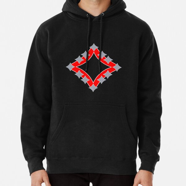 Dancing Silver 4-Point Stars Red Black Face Pullover Hoodie