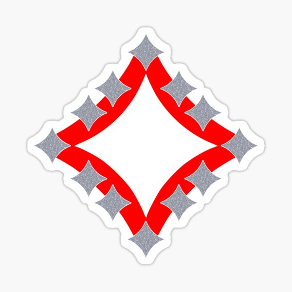 Dancing Silver 4-Point Stars Red Black Face Sticker