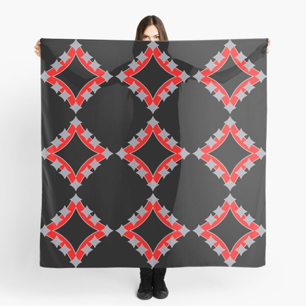 Dancing Silver 4-Point Stars Red Black Face Scarf