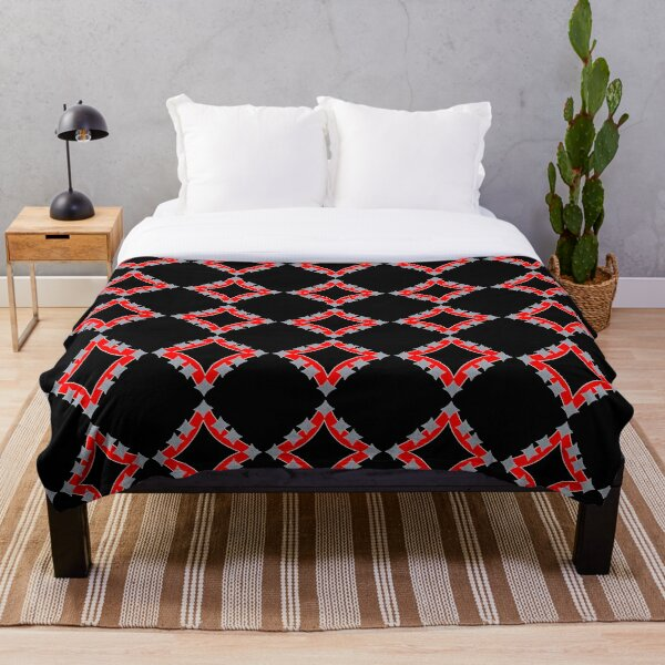 Dancing Silver 4-Point Stars Red Black Face Throw Blanket