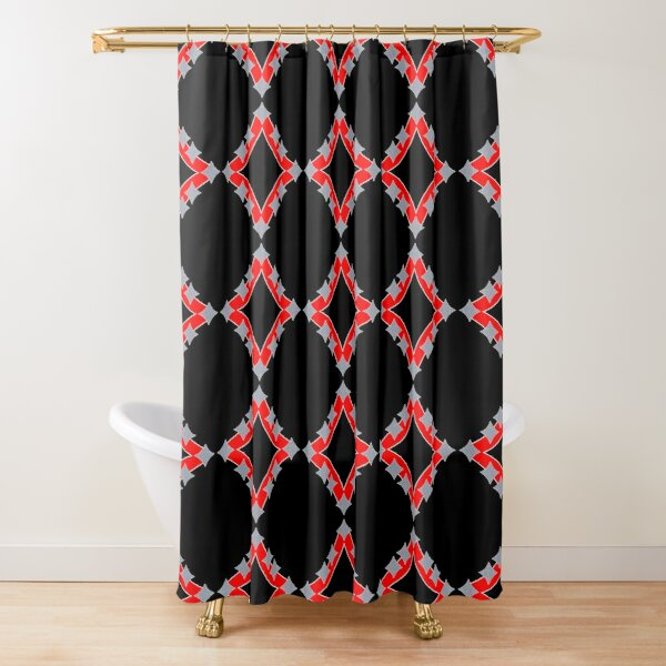 Dancing Silver 4-Point Stars Red Black Face Shower Curtain