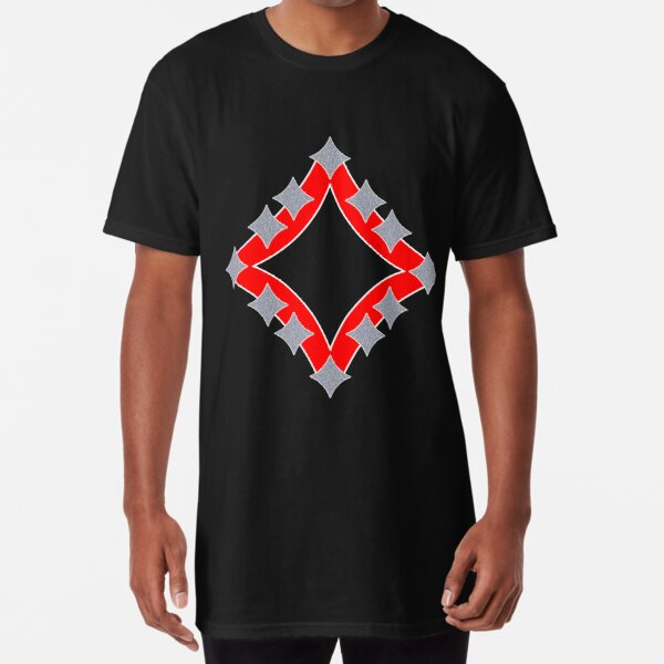 Dancing Silver 4-Point Stars Red Black Face Long T-Shirt