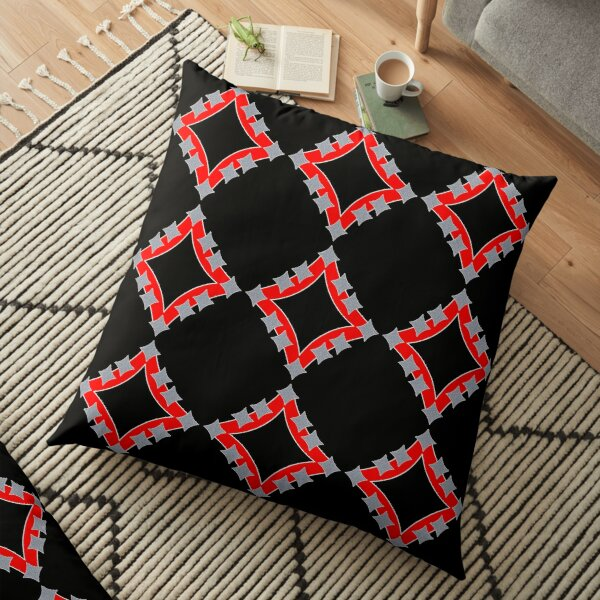 Dancing Silver 4-Point Stars Red Black Face Floor Pillow