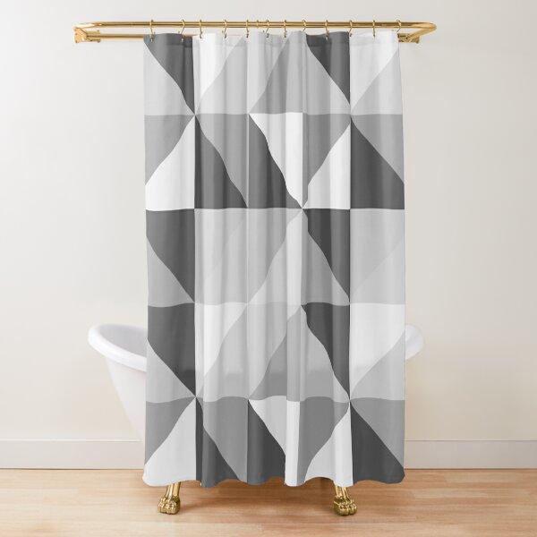 Modern Geometric Pastel Triangles in Grays Shower Curtain