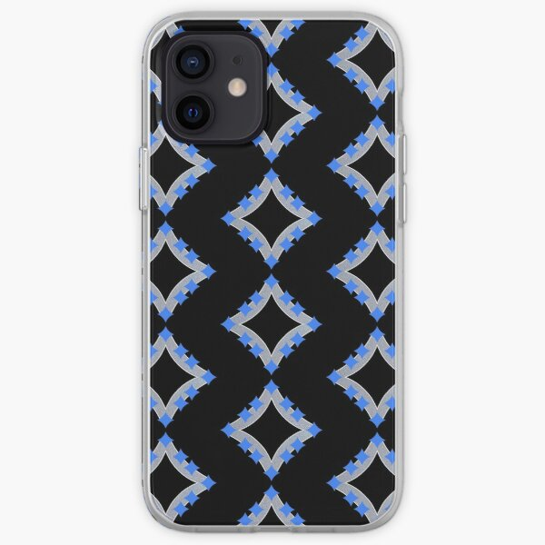 Dancing Blue 4-Point Stars Silver Black Face iPhone Soft Case