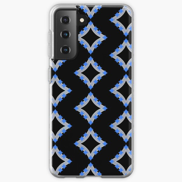 Dancing Blue 4-Point Stars Silver Black Face Samsung Galaxy Soft Case