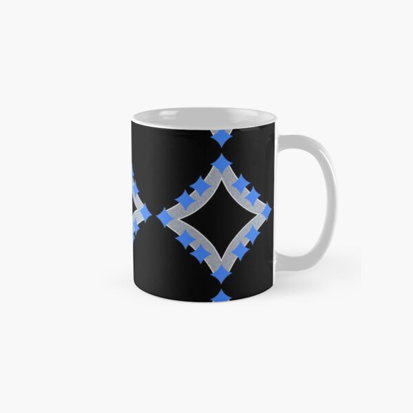 Dancing Blue 4-Point Stars Silver Black Face Classic Mug