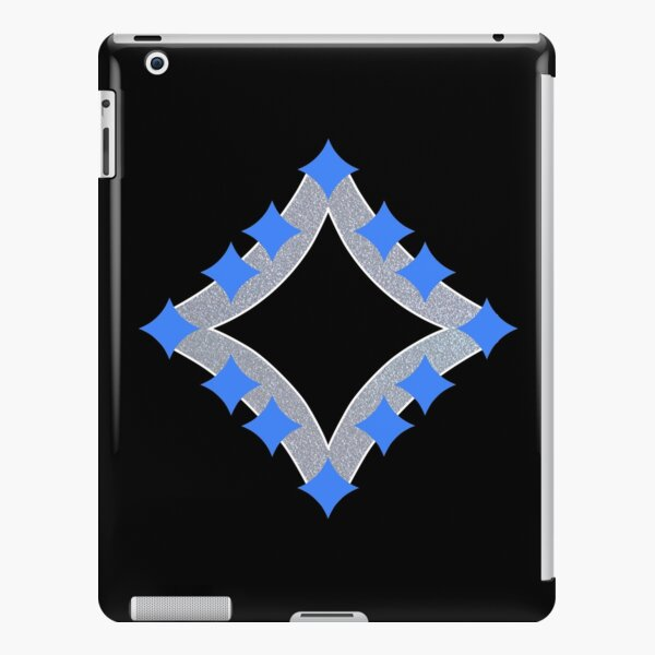 Dancing Blue 4-Point Stars Silver Black Face iPad Snap Case
