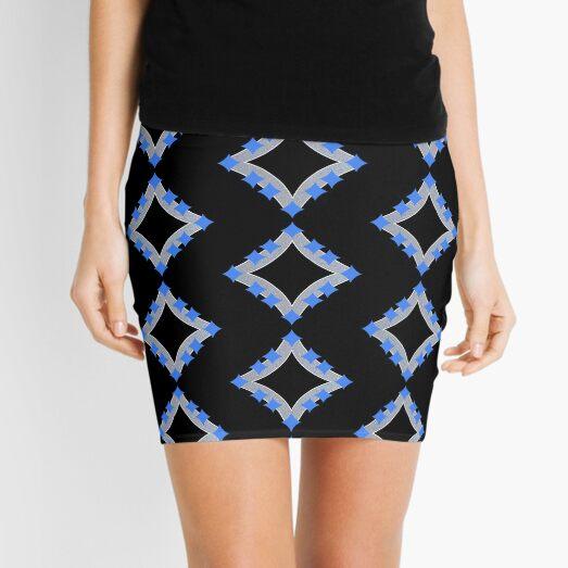 Dancing Blue 4-Point Stars Silver Black Face Mini Skirt