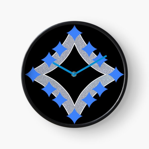 Dancing Blue 4-Point Stars Silver Black Face Clock