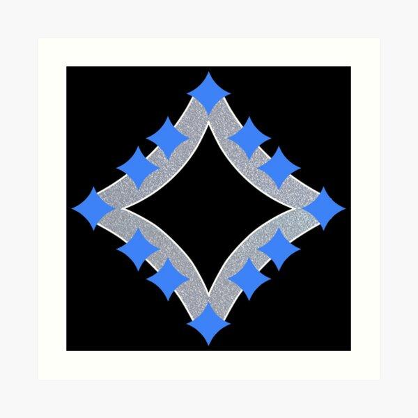 Dancing Blue 4-Point Stars Silver Black Face Art Print