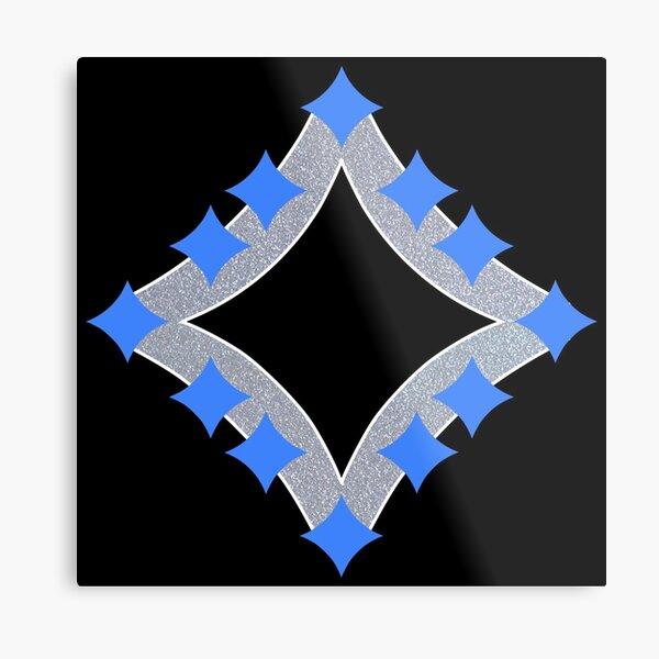 Dancing Blue 4-Point Stars Silver Black Face Metal Print