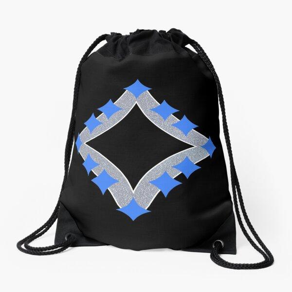 Dancing Blue 4-Point Stars Silver Black Face Drawstring Bag