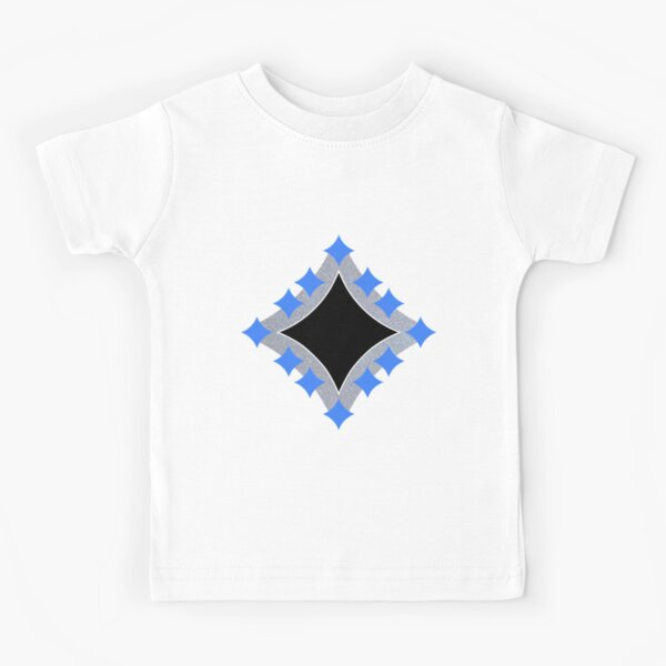 Dancing Blue 4-Point Stars Silver Black Face Kids T-Shirt