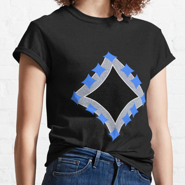 Dancing Blue 4-Point Stars Silver Black Face Classic T-Shirt