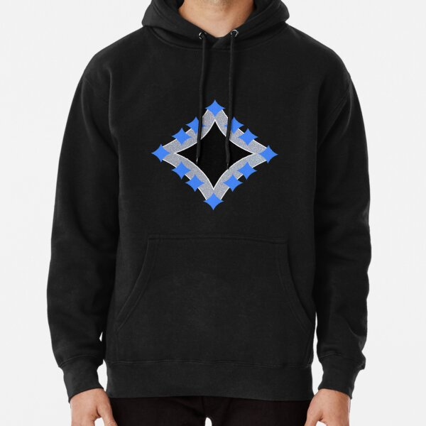 Dancing Blue 4-Point Stars Silver Black Face Pullover Hoodie