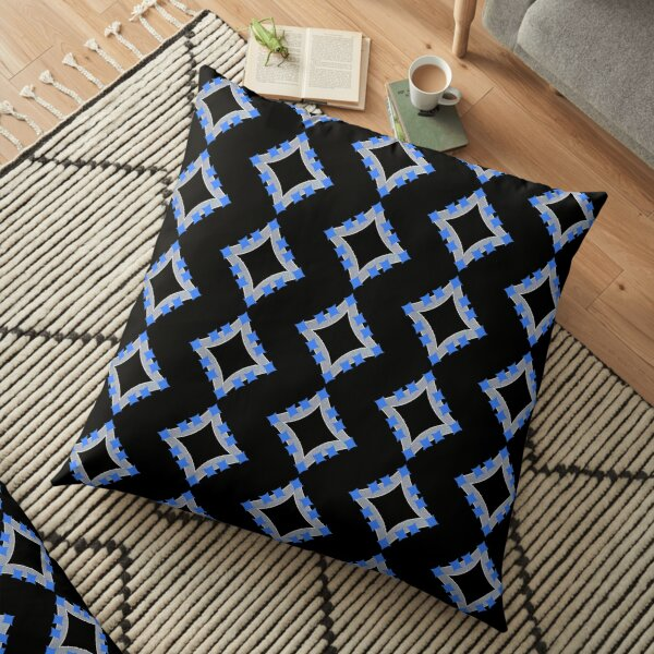 Dancing Blue 4-Point Stars Silver Black Face Floor Pillow