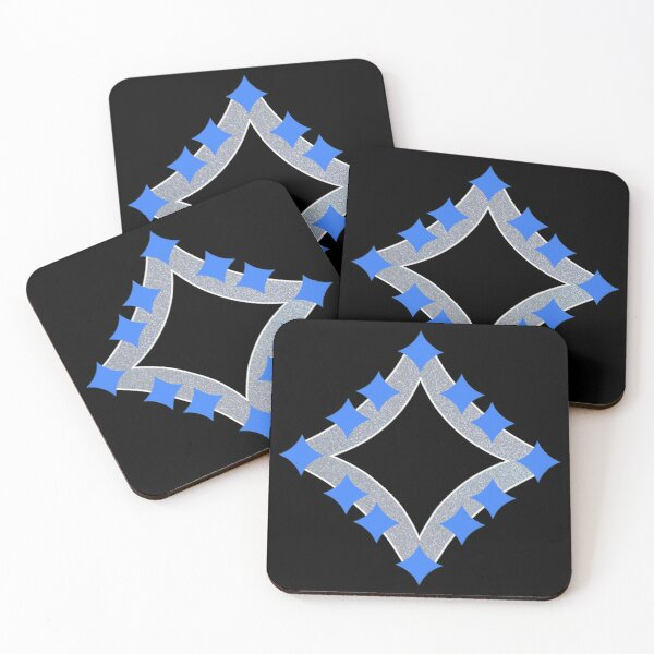 Dancing Blue 4-Point Stars Silver Black Face Coasters (Set of 4)