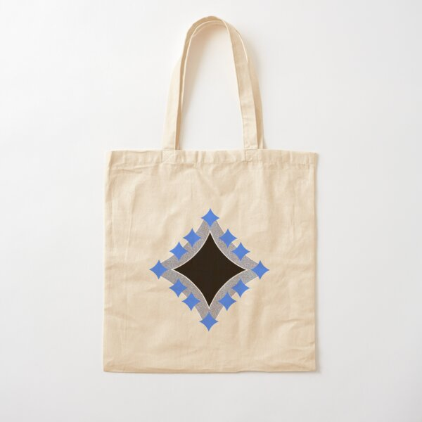 Dancing Blue 4-Point Stars Silver Black Face Cotton Tote Bag