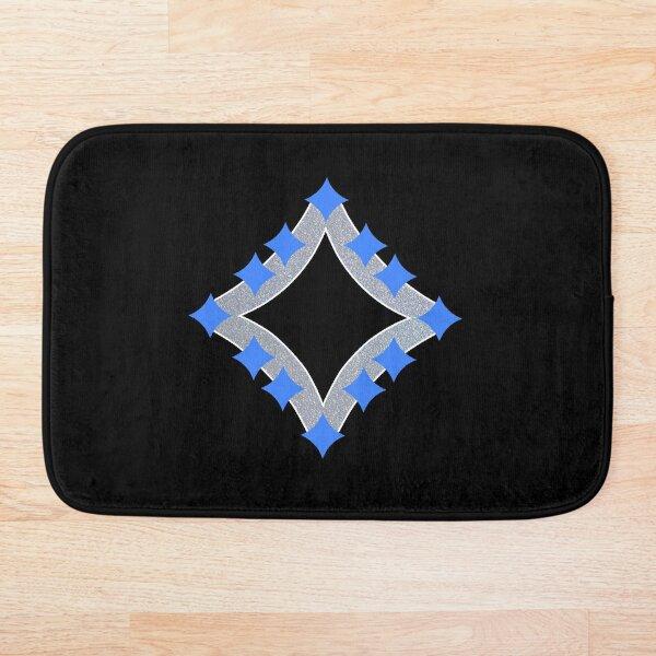 Dancing Blue 4-Point Stars Silver Black Face Bath Mat