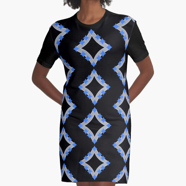 Dancing Blue 4-Point Stars Silver Black Face Graphic T-Shirt Dress
