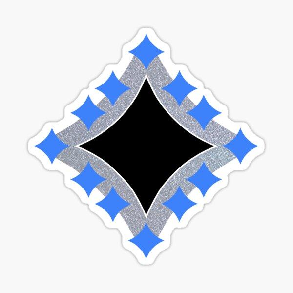 Dancing Blue 4-Point Stars Silver Black Face Sticker
