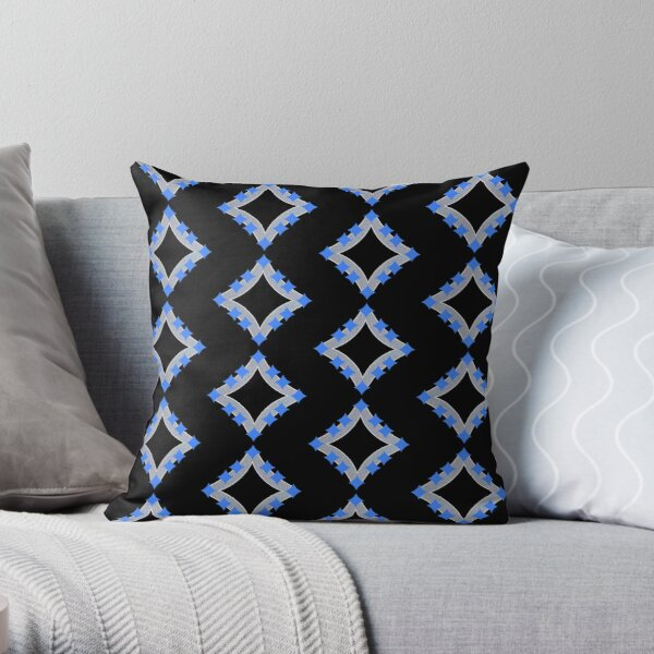 Dancing Blue 4-Point Stars Silver Black Face Throw Pillow