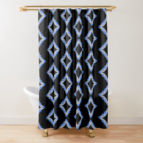 Dancing Blue 4-Point Stars Silver Black Face Shower Curtain