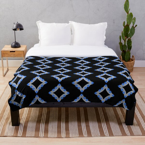 Dancing Blue 4-Point Stars Silver Black Face Throw Blanket