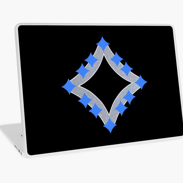 Dancing Blue 4-Point Stars Silver Black Face Laptop Skin