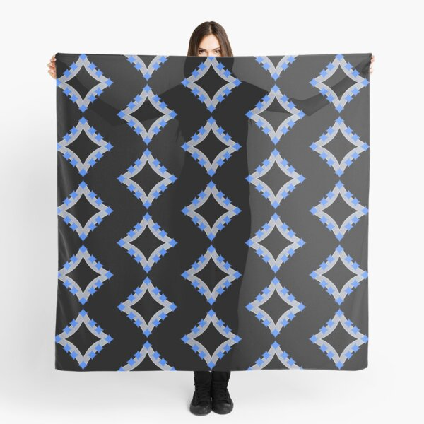 Dancing Blue 4-Point Stars Silver Black Face Scarf