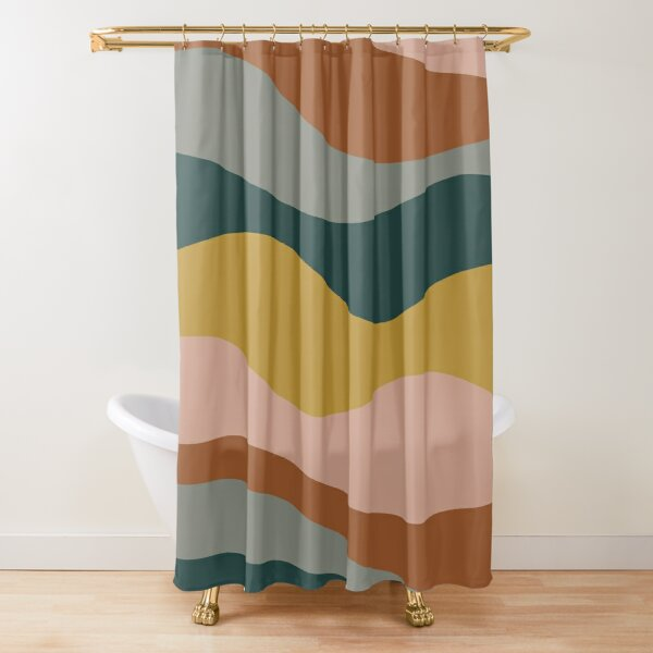 Retro Waves Minimalist Pattern 2 in Rust, Blush Pink, Gray, Navy Blue, and Mustard Gold Shower Curtain