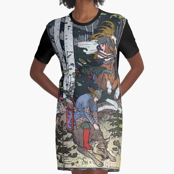 Ivan and the Wolf - Ivan Bilibin Graphic T-Shirt Dress