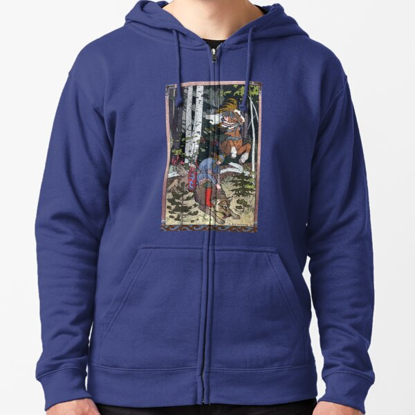 Ivan and the Wolf - Ivan Bilibin Zipped Hoodie