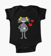 cute smiley girl vector art One Piece - Short Sleeve