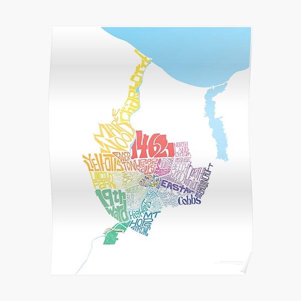 Rochester Neighborhoods Map (Neighborhoods of Rochester, New York) Poster