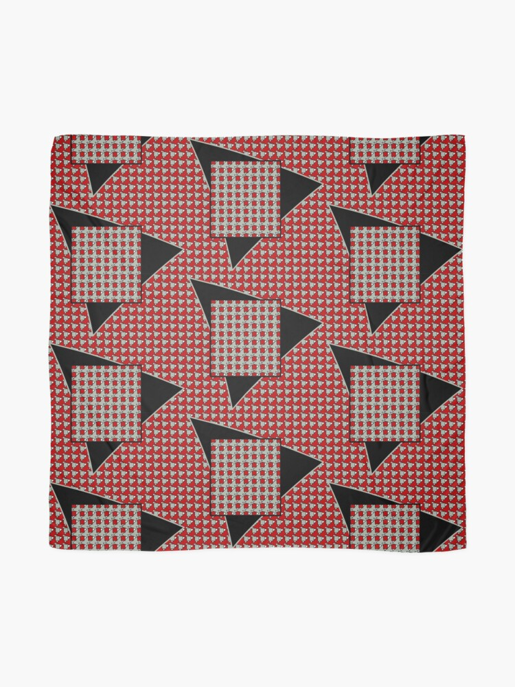 Alternate view of Modern houndstooth - red, black and sage Scarf